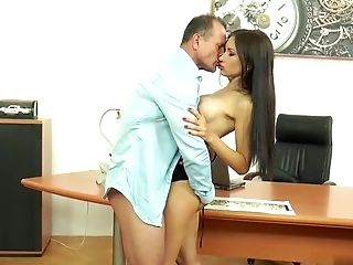 Anal Sex, Boss, Brunette, Couple, Fingering, MILF, Natural Tits, Office, Pornstar, Reality,