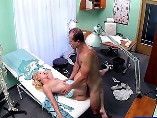 Big Tits, Blonde, Blowjob, Bold, Caucasian, Couple, Examination, HD, Hospital, Oral Sex,