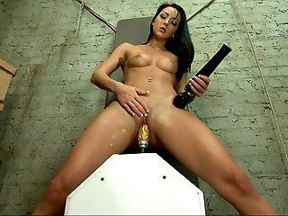 Brunette, Cute, Dildo, Fucking Machine, Horny, Masturbation, Riding, Sex Toys, Skinny, Young,