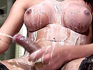 Big Cock, Big Tits, Handjob, HD, Lingerie, Masturbation, Milk, Shemale, Stockings, Tranny,
