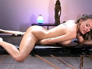 Ass, Beauty, Big Tits, Boots, Brunette, Dildo, HD, Moaning, Oiled, Pussy,