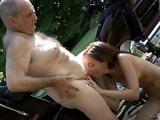 Babe, Blowjob, Bold, Brunette, Caucasian, Couple, Cum, Cum Swallowing, Dick, Grandpa,
