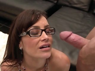 Anal Sex, Big Tits, Brunette, Couch, Cowgirl, Cumshot, Doggystyle, Facial, Fake Tits, Glasses,