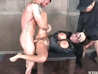 BDSM, Big Tits, Blowjob, Bondage, Brunette, Deepthroat, Face Fucking, Force, Hairy, Hardcore,