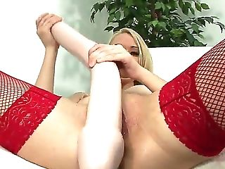 Anal Beads, Blonde, Bodystocking, Bold, Cameltoe, Dildo, Fishnet, HD, Insertion, Lingerie,