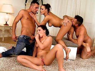 Anal Sex, Babe, Beauty, Choking Sex, Couch, Czech, European, Ffmm, Foursome, Group Sex,