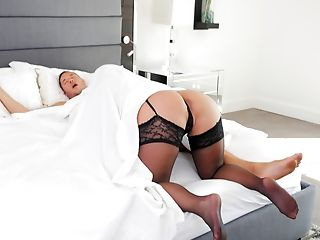 Blonde, Blowjob, Lingerie, MILF, Reality, Stockings,