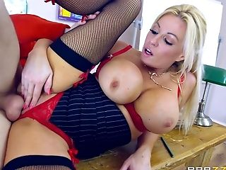 Big Tits, Blonde, Blowjob, College, Cowgirl, Face Fucking, Fingering, Handjob, Hardcore, High Heels,