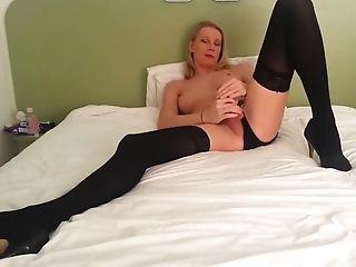 Autofellatio, Blonde, Homemade, Shemale, Solo, Stockings, Webcam,