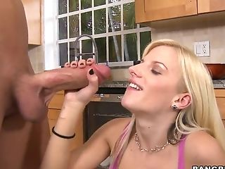 Big Cock, Big Tits, Blonde, Blowjob, Facial, Fucking, Haley Cummings, Handjob, HD, Kitchen,