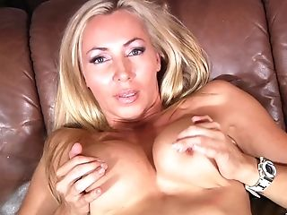Ball Licking, Big Tits, Blonde, Blowjob, Clamp, Couch, Couple, Dick, Doggystyle, Fake Tits,