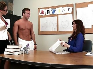 American, Blowjob, Bobcat, Brunette, Classroom, Desk, Eva Notty, FFM, MILF, Office,