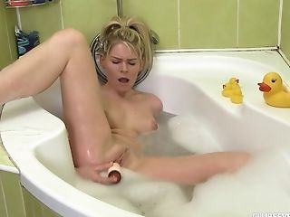Bathroom, Big Natural Tits, Blonde, Jerking, Moaning, Natural Tits, Sex Toys, Soapy Massage, Solo,